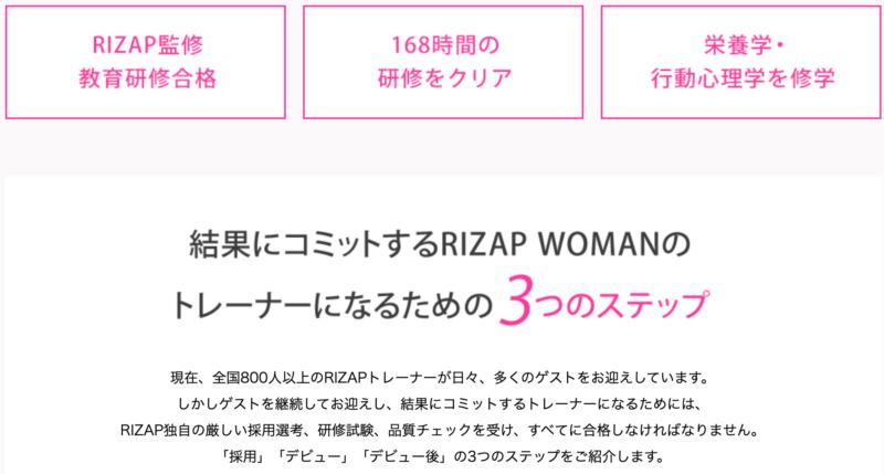 RIZAP WOMAN(ライザップウーマン)のトレーナーレベルは?